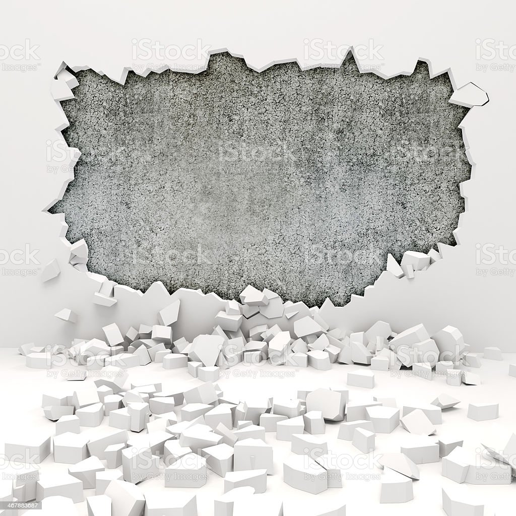 3D wall destruction revealing damaged wall stock photo