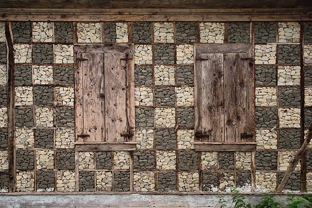 wall detail of north anatolian house - adomer stok fotoğraflar ve resimler