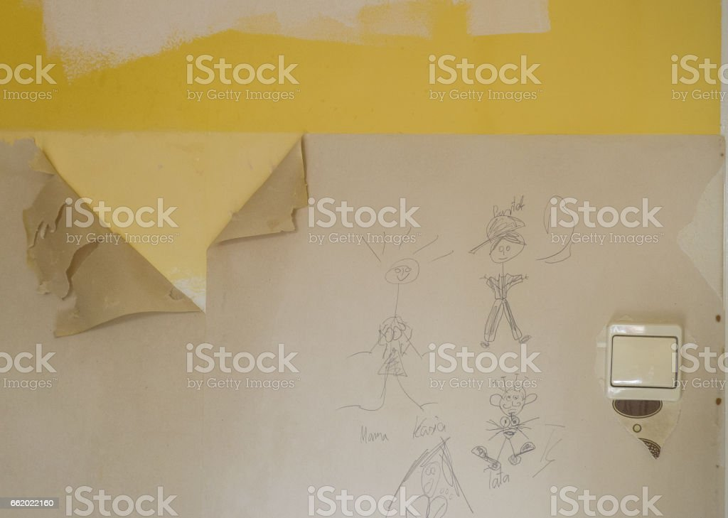 Wall during the renovation royalty-free stock photo