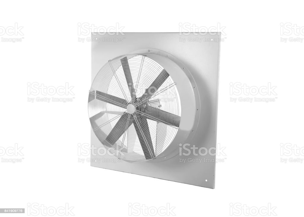 Wall electric extractor fan isolated on white background.  It removes airborne grease, combustion products, fumes, smoke, odors, heat, and steam from the air by evacuation of the air and filtration. stock photo