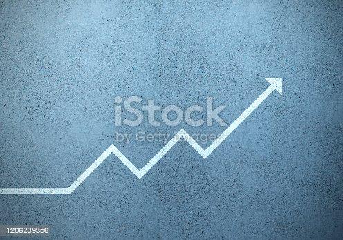 Wall financial graph as road marking