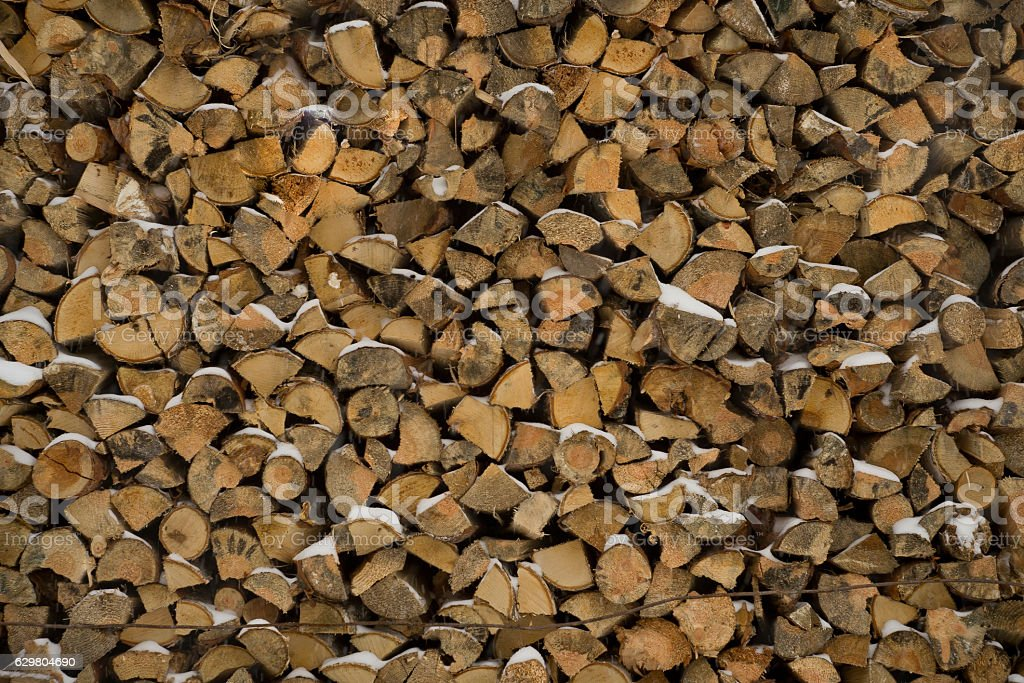wall firewood , Background of dry chopped  logs in a pile stock photo