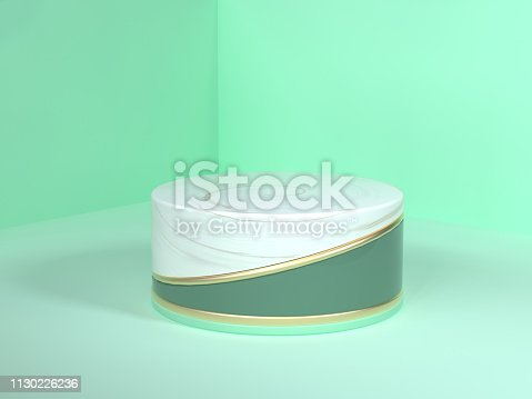 479257178istockphoto wall floor corner green scene 3d rendering abstract gold white marble blank podium circle white gold green 1130226236
