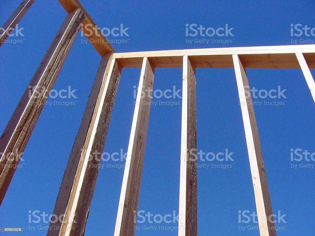 Wall framing construction and blue sky royalty-free stock photo