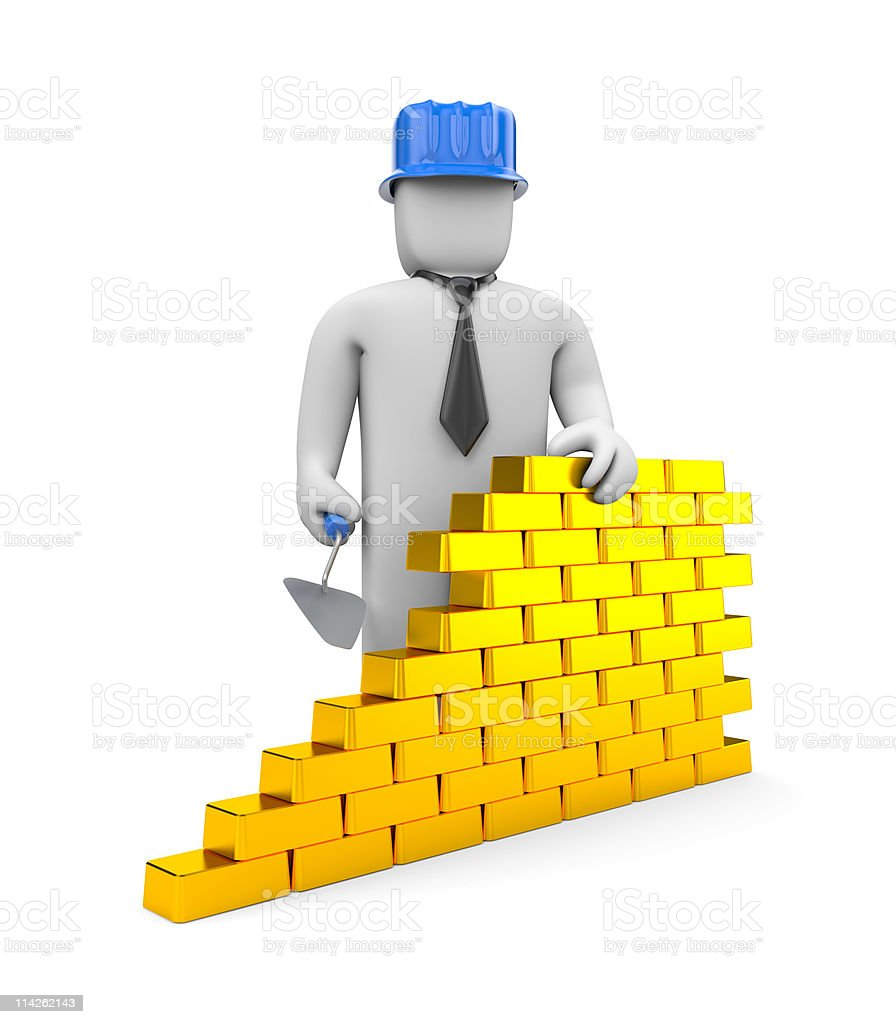 Wall from gold bricks royalty-free stock photo