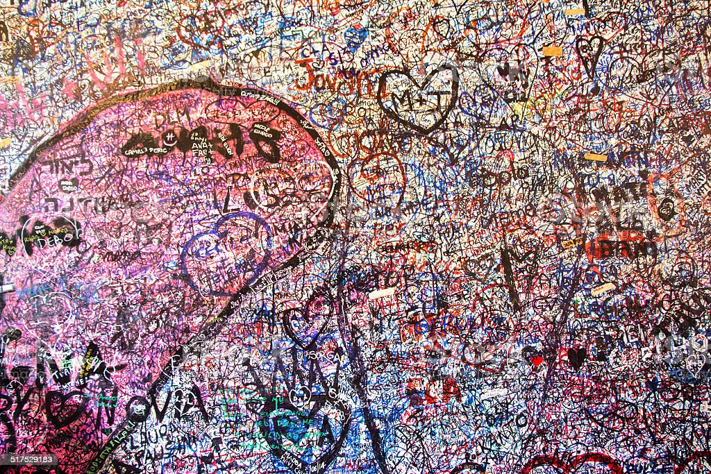 Wall full of messages in Juliet's House stock photo