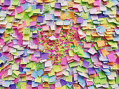 istock Wall full of multi colored adhesive papers, Prague 928046764