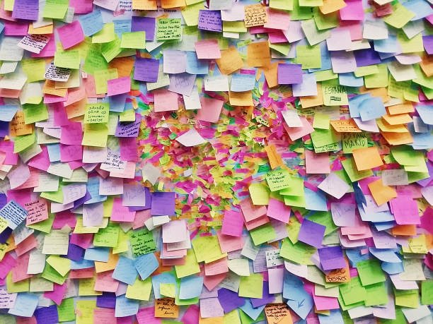 wall full of multi colored adhesive papers, prague - post it foto e immagini stock