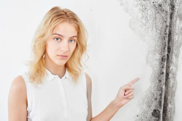 Wandpilz. Aspergillus. Ein schönes Mädchen in einem weißen T-Shirt zeigt einen Finger auf die schwarze Form an der Wand.