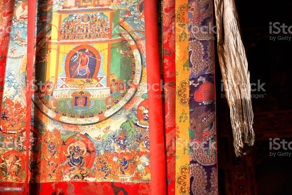 Wall hanging tibetan silk thangka. Sakya-Tibet. 1857 stock photo