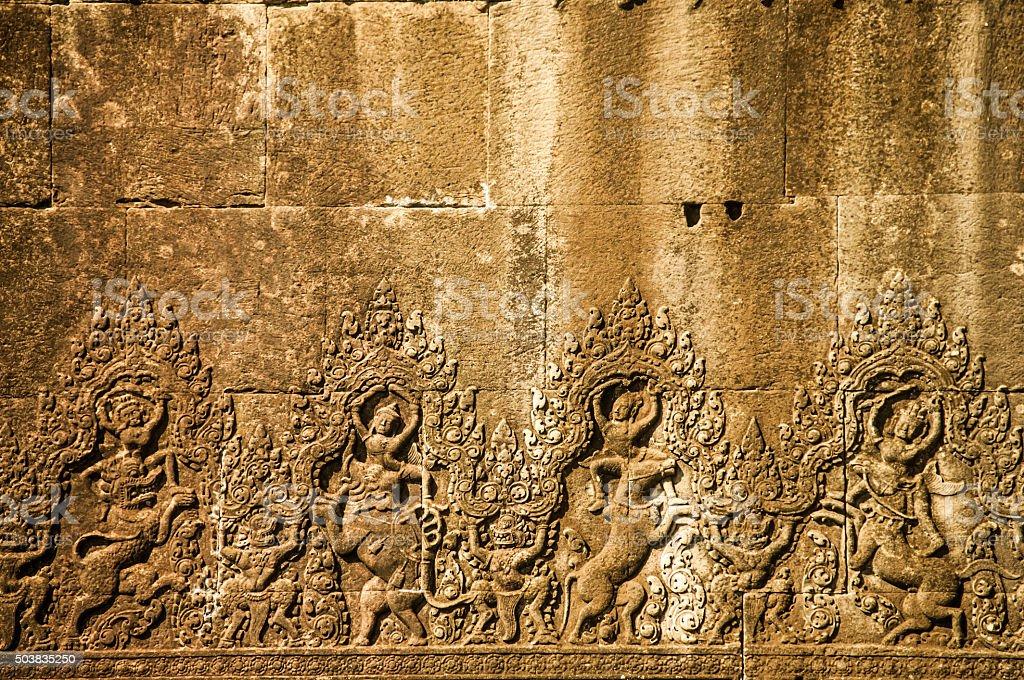 Wall in Angkor Wat stock photo