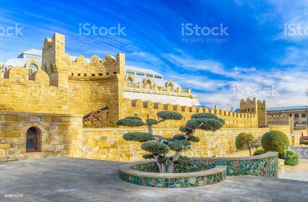 Wall in Baku's old town stock photo