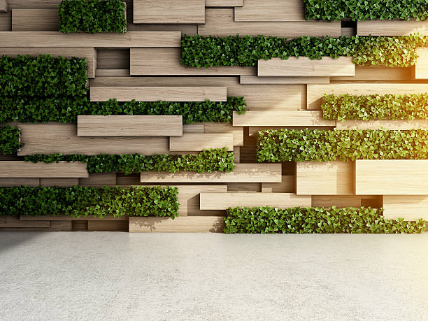 Wall in modern interior Wall in modern interior with wooden blocks and vertical garden. 3D illustration. minimalist concrete floor stock pictures, royalty-free photos & images
