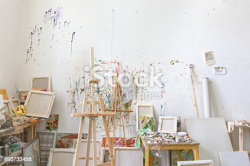 671393252istockphoto Wall in the artist's studio interior, workshop 693733458