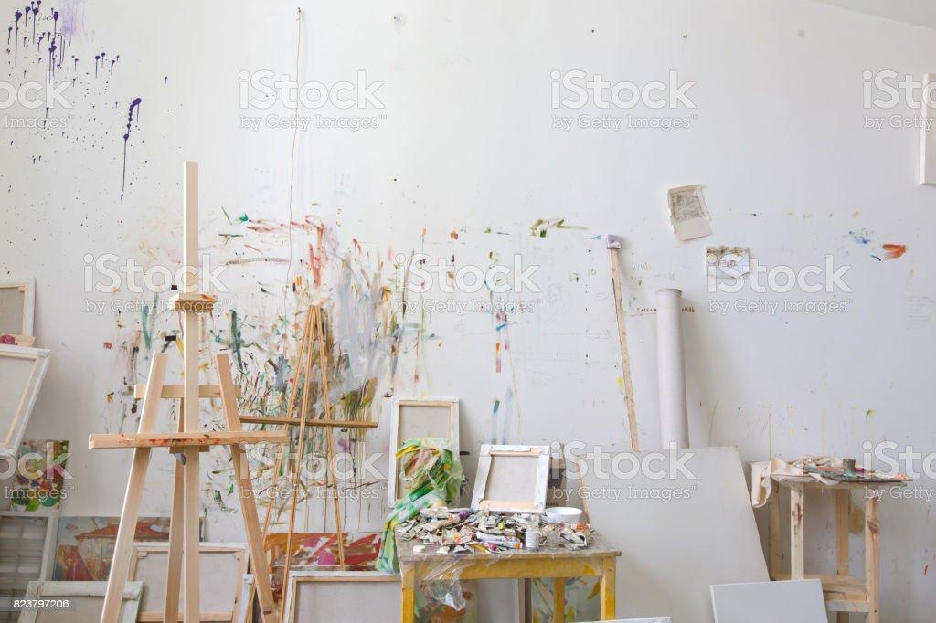 Wall in the artist's studio interior, workshop stock photo