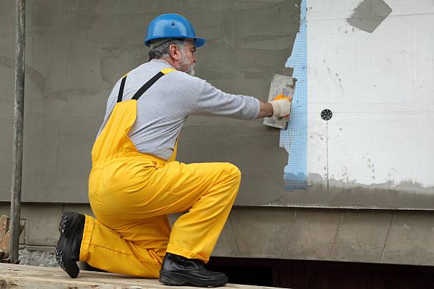 Wall Isolierung, Verbreitung mortar über mesh und styrofoam – Foto