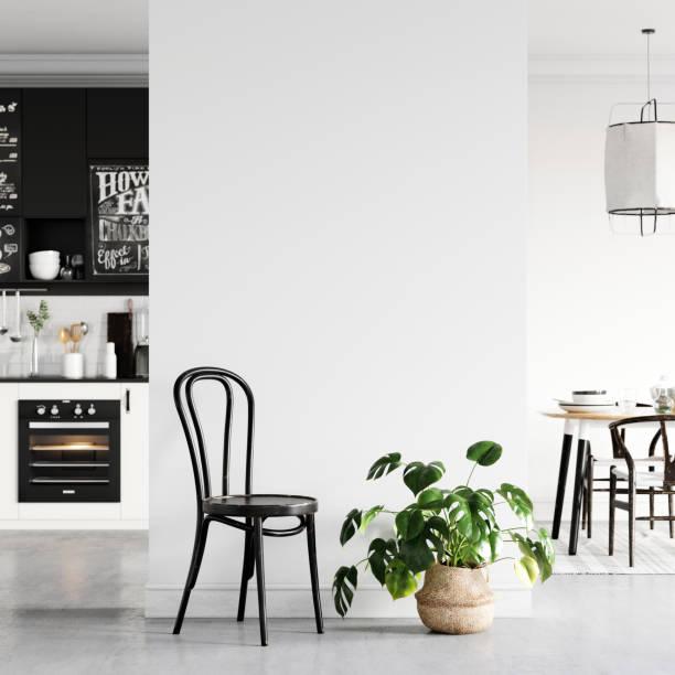 Wandinnenraum mokiert sich auf. Wandkunst. Skandinavisches Interieur. 3d Rendering, 3d Illustration – Foto