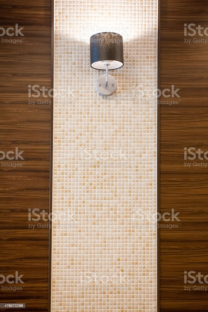 Wall lamp and modern wall building interior stock photo