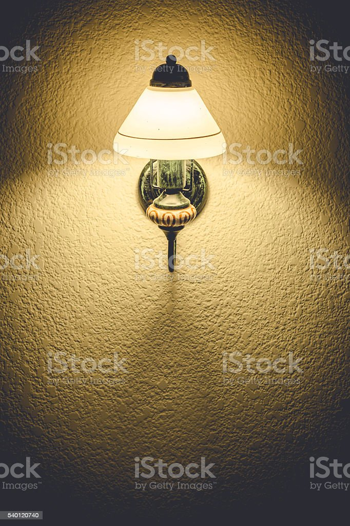 Wall lamp with shade stock photo