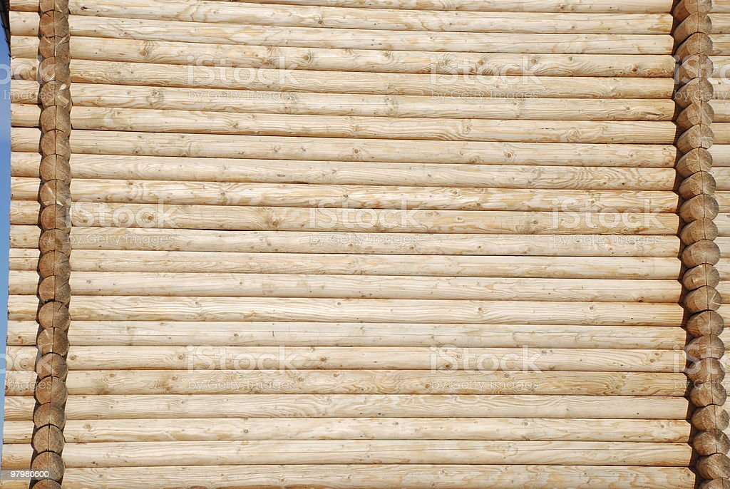 wall lined wooden logs royalty-free stock photo