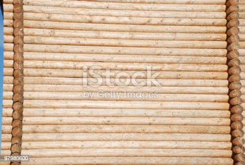 Wall Lined Wooden Logs Stock Photo & More Pictures of Backgrounds
