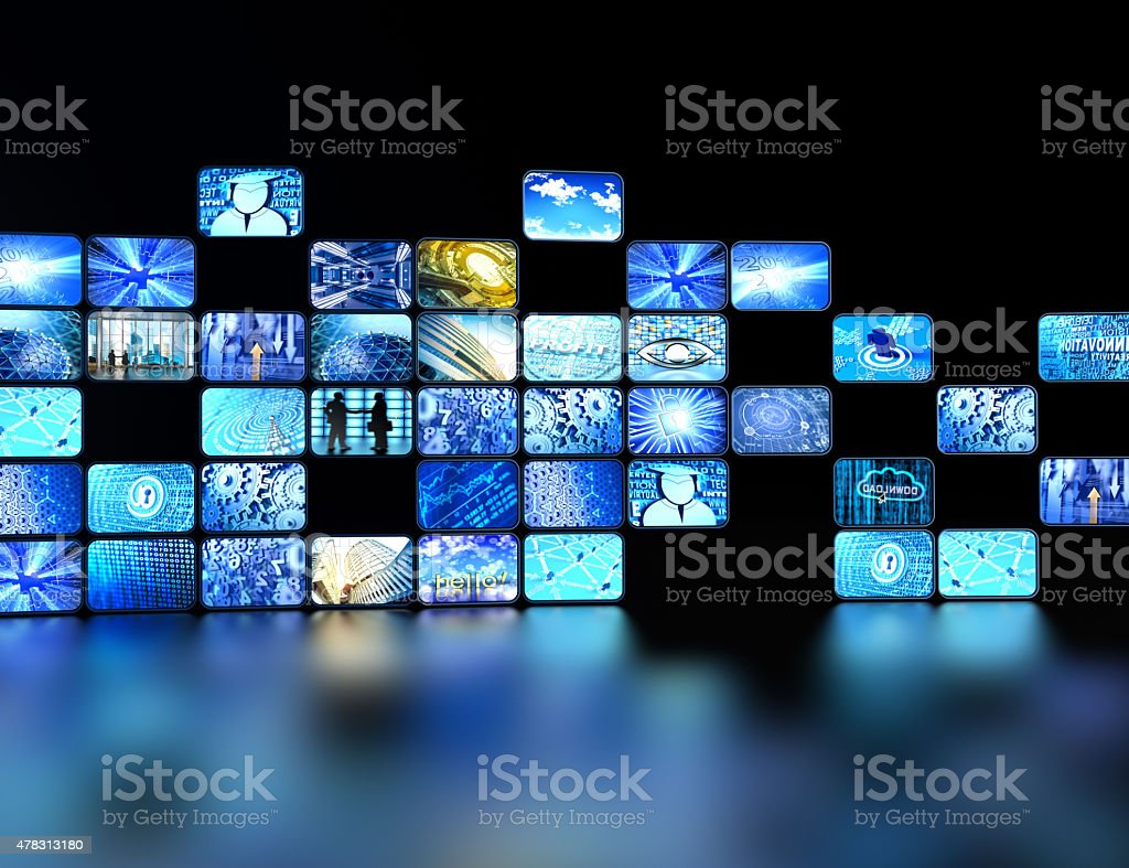 wall made of digital screens reflected on the floor stock photo
