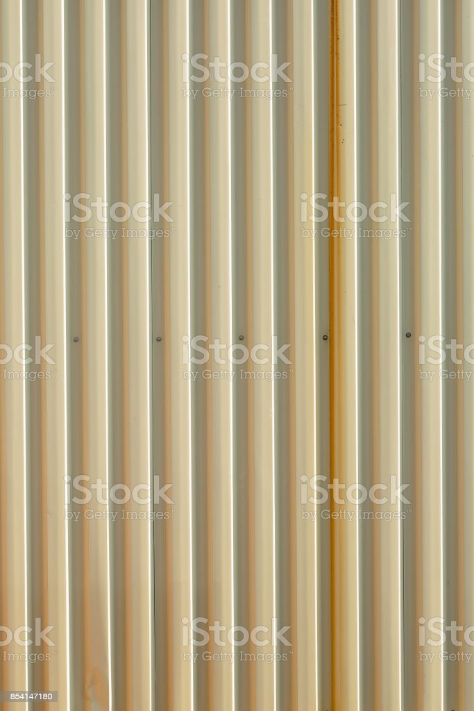 wall made of metal sheet profiled stock photo
