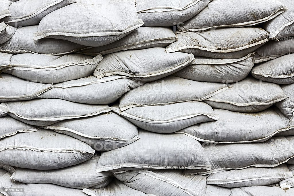 Wall made of white bags royalty-free stock photo