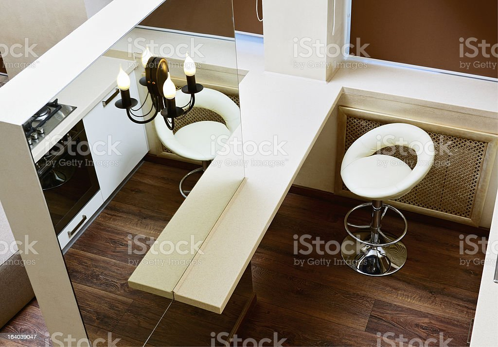 Wall mirror and bar tabletop top view, interior detail royalty-free stock photo