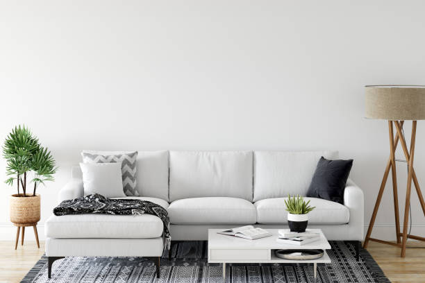 Wand-Mock-up im Wohnzimmer. Skandinavisches Interieur. 3D-Rendering, 3D-Illustration – Foto