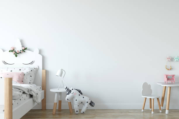 Wand-Mock-up. Innenraum des Kindes. Skandinavischen Stil. 3D Rendering, 3d Illustration. – Foto