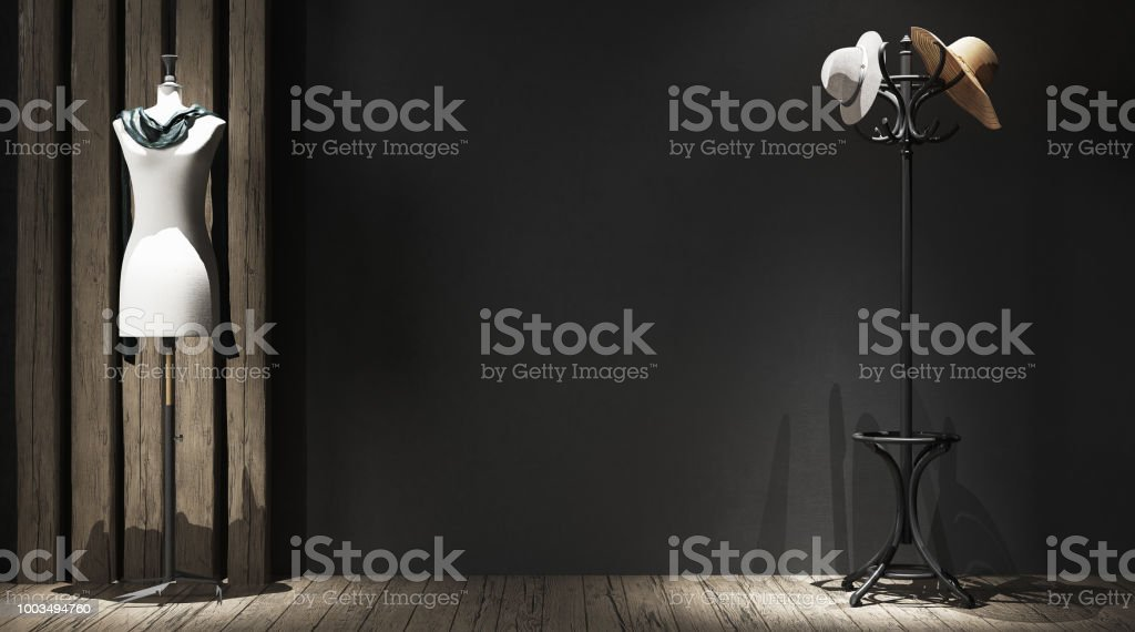 Wall mock-up in atelier stock photo