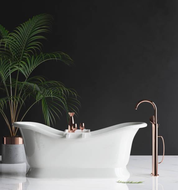 wand-mock-up in minimalistischen luxus-badezimmer - minimalbadezimmer stock-fotos und bilder
