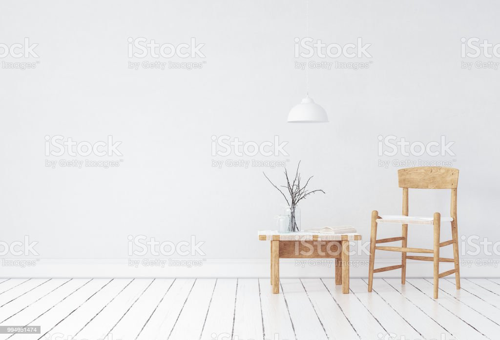 Wall mock-up in Scandinavian style interior royalty-free stock photo