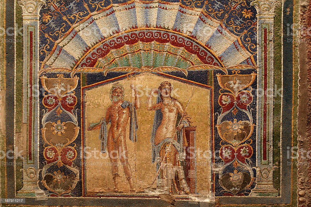 Wall Mosaic of Neptune and Amphitrite from Herculaneum stock photo