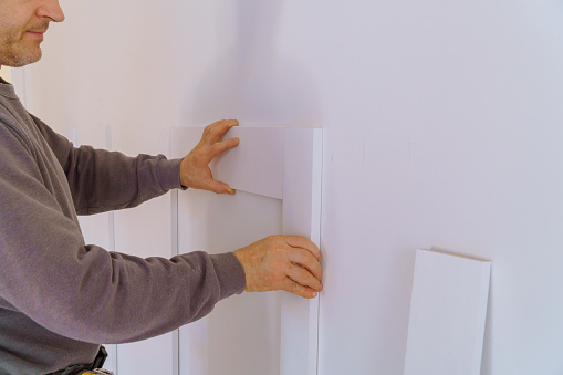 istock Wall moulding trim custom house building contractor 1217013101