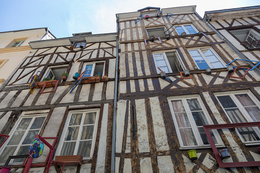 Wall of a house with half-timbered construction technology
