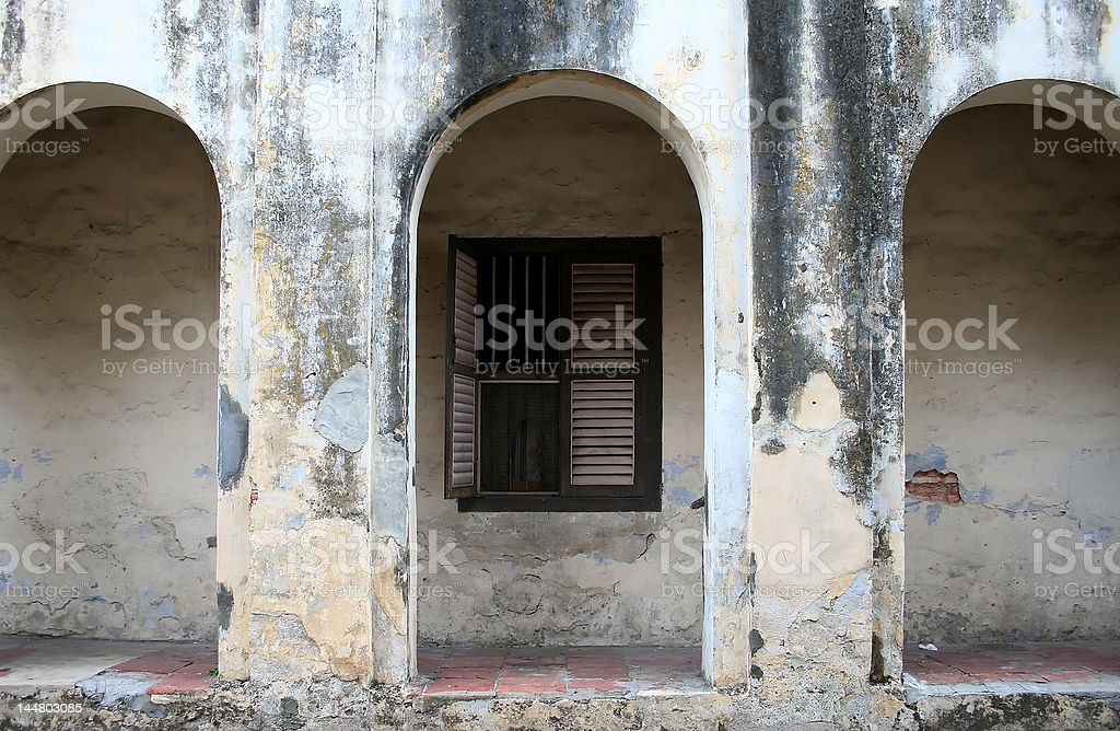 Wall of an old dilapidated building royalty-free stock photo