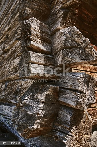 wall of an old house, brown boards with cracks, close-up and wood texture