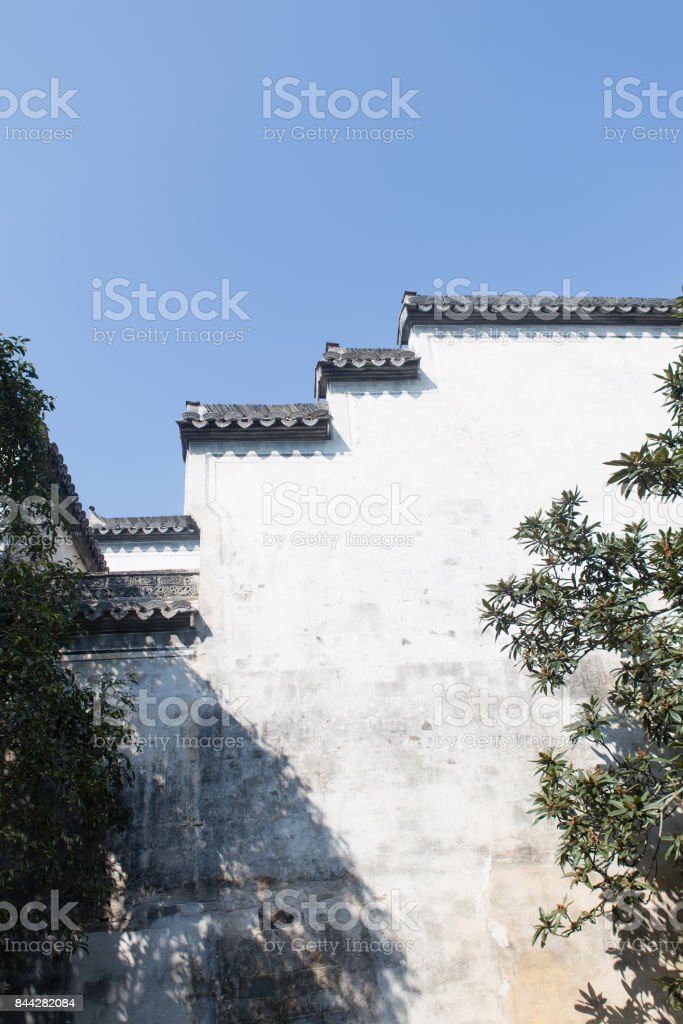 Wall of Chinese traditional style stock photo