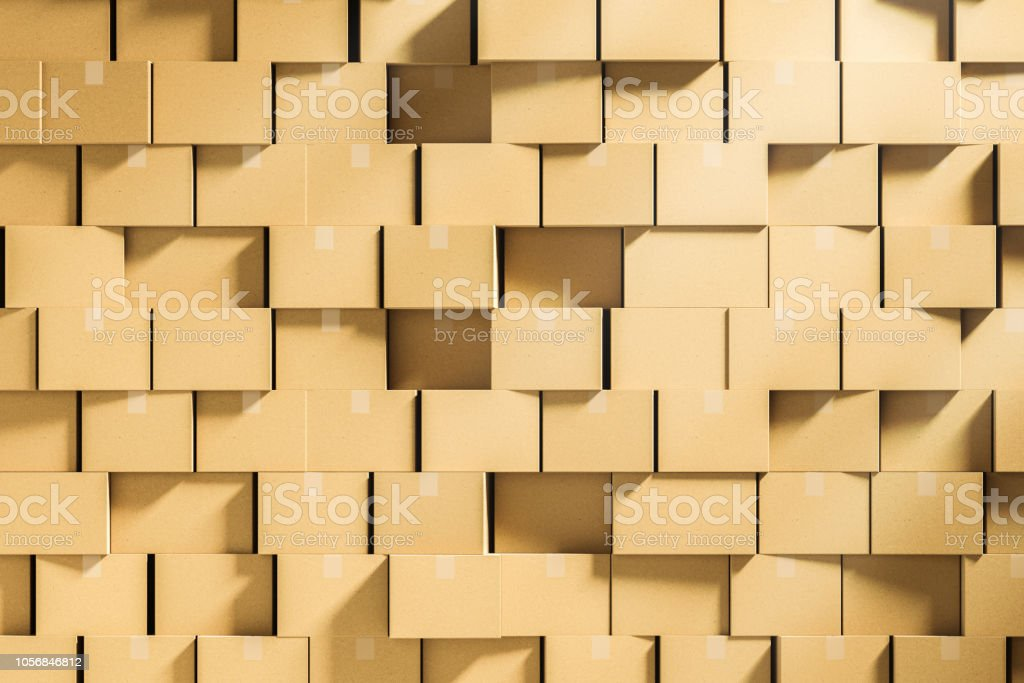 Wall of closed cardboard boxes stacked mock up stock photo