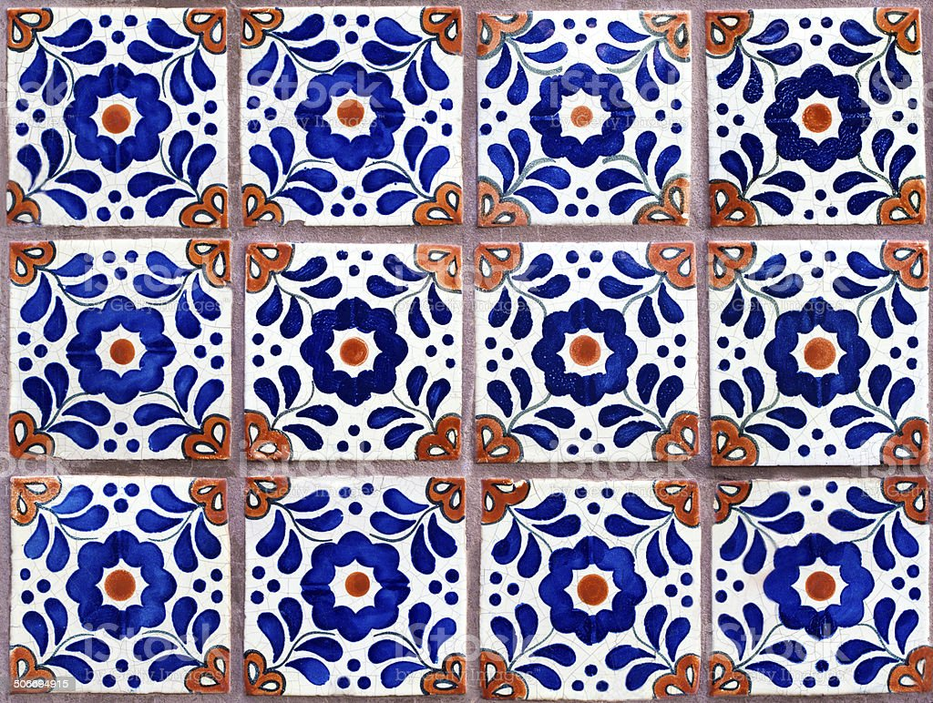 Wall Of Colorful Geometricfloral Mexican Tiles stock photo iStock