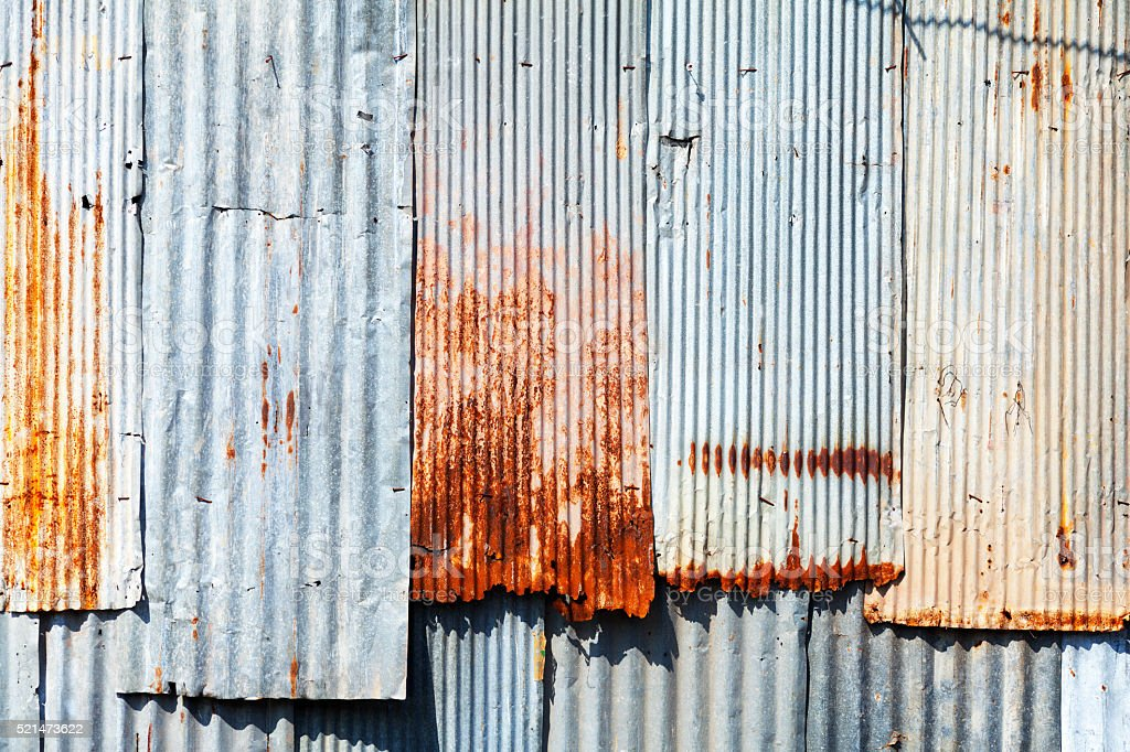 Wall of corrugated metal stock photo