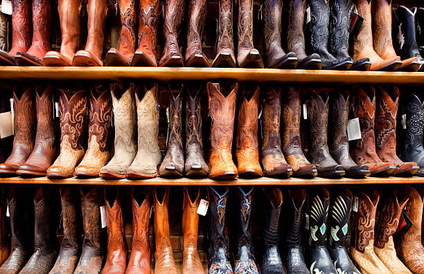 Wall of Cowboy Boots stock photo