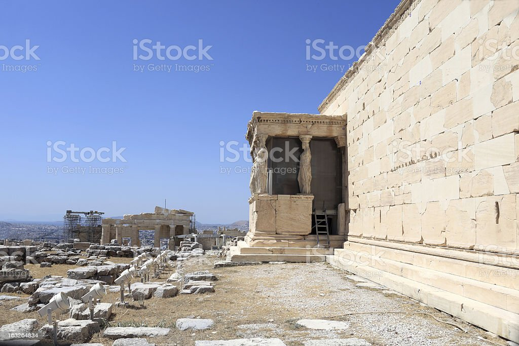 Wall of Erechtheum greek temple royalty-free stock photo