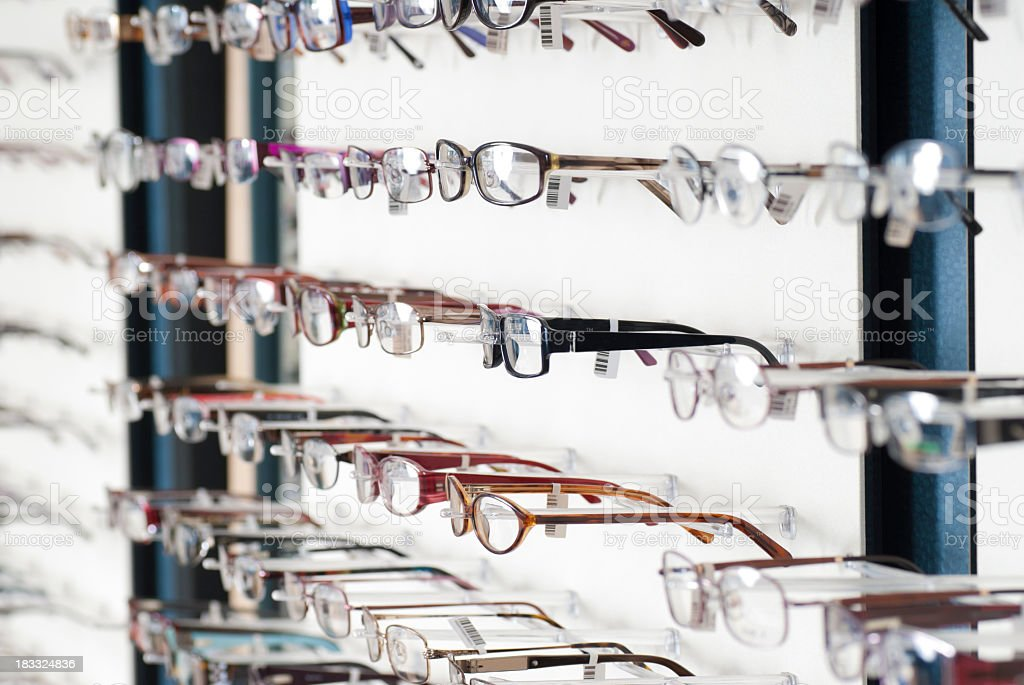 Wall of Eye Glass Frames at Optometrist OfficeWall of Glasses at Optometrist Office royalty-free stock photo