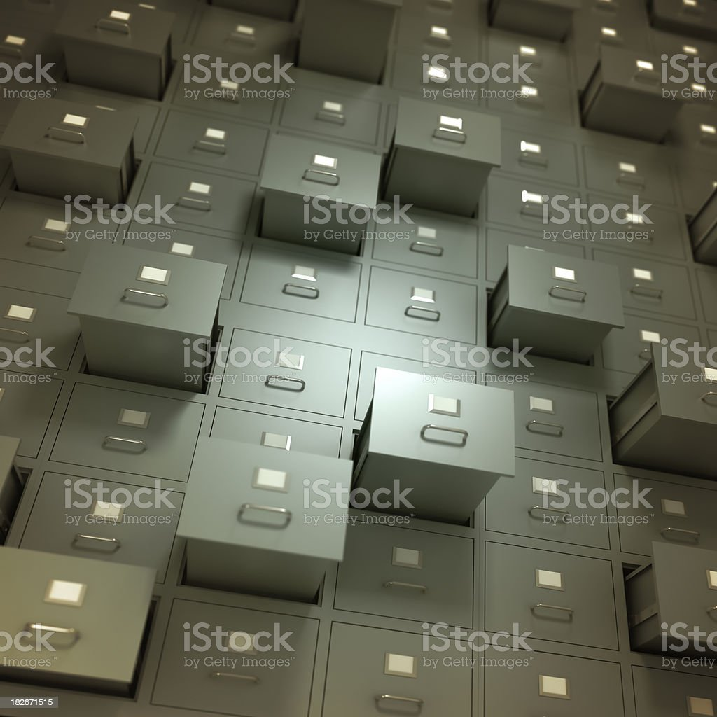 Wall of filing cabinets, some drawers open - isolated/clipping path stock photo