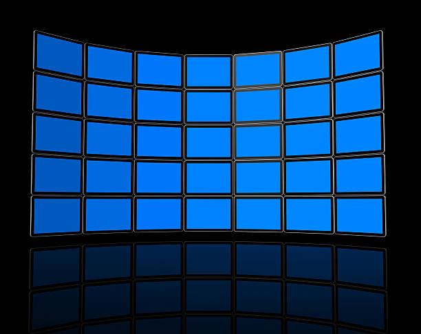 Wall de pantallas de televisor con pantalla plana - foto de stock