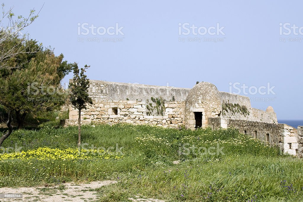 Wall of Fortezza castle at Rethymnon - Crete royalty-free stock photo