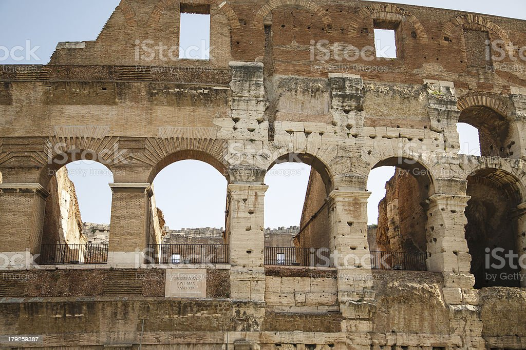 Wall of Forum with Latin Plaque royalty-free stock photo
